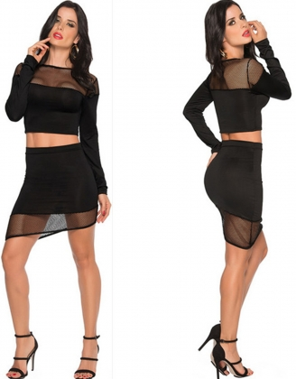 2pcs Black See Through Long Sleeve Club Skirt Suit