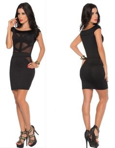 Cap Sleeves Front Mesh Insert Little Black Dress