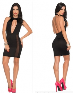 Black O-neck Hollow-out Halter Clubwear Dress