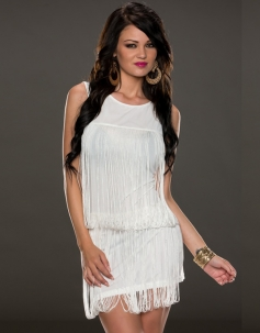 Halterneck Fringe Mini Dress