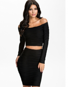 Subtle Ripples Textured Off-shoulder Skirt Set