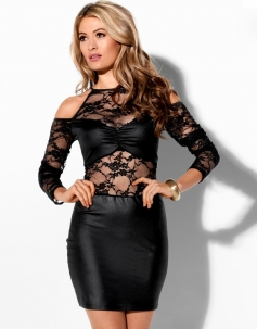 Black Lace Long Sleeves Sexy Club Dress