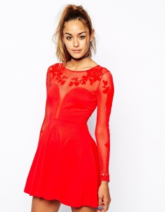 Red Long Sleeves Embroidered Mesh Plunge Hollow Out Back Skater Dress