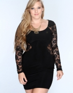 Plus Size Long Sleeve Lace Club Dress