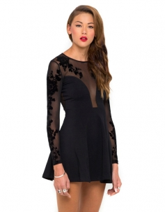 Black Long Sleeves Embroidered Mesh Plunge Hollow Out Back Skater Dress