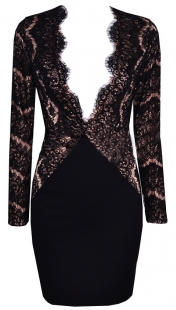 Sexy V-neck Eyelash Lace Bodycon Dress