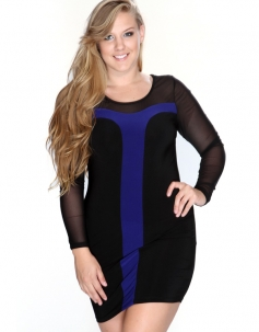 Blue Mesh Full Sleeve Red Panel Club Dress