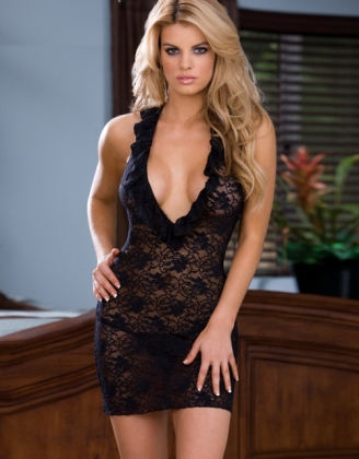 Black Midnight Lace Babydoll Lingerie Set