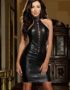 Sexy Halter Leather Dress