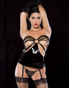 Two-piece Strappy Open Cup Vinyl Corset