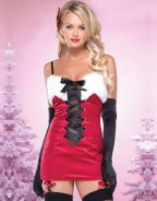 Dark Red Fashion Lace Up Spaghetti Straps Chrismas Dress