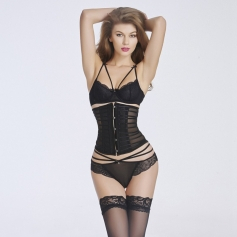 Trendy Button Embellished See-Through Patchwork Corset