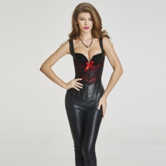 Women's black leather sexy underwear adjustable latex waist corset
