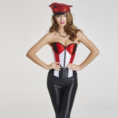 New fashion Red, White & Black Geometric Corset