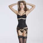 Sexy Punky Faux Leather Underbust Corset