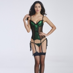 Sexy patchwork lingerie with Gown string and stockings
