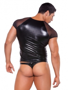 Sexy Black Vinyl Men Lingerie