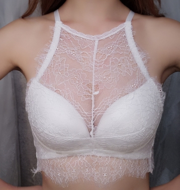 White Sexy Lace Eyelash Bra
