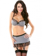 Women Erotic Gray Lace Lingerie Set