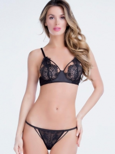 Sexy Women Black Lace Lingerie Set