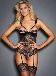 Sexy Black Lace Eyelash Teddies Lingerie