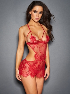 Sexy Red Lace Eyelash Teddies Lingerie