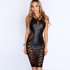 Black Sexy Lace Vinyl Women Dress