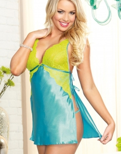 Sky Blue Sexy Lingerie Luxurious Chemise