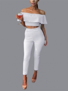 Fashion Sexy 2 Pcs White Off Shoulder Set