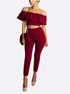 Fashion Sexy 2 Pcs Red Off Shoulder Set